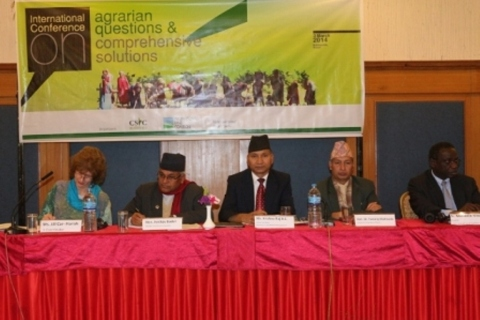 From left, Ms. Jill Car-Harish (II); Honorable Mr. Keshav Badal; Mr. Krishna Raj BC, (MoLRM); Honorable Dr. Yuwaraj Khatiwada(Central Bank);Dr. Madiodio Niasse, (ILC)