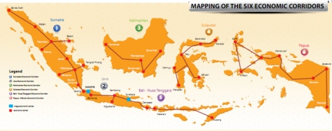 The six economic corridors of the MP3EI project. Photo retrieved from https://privateequityindonesia.files.wordpress.com/2012/03/mapping.jpg?w=788