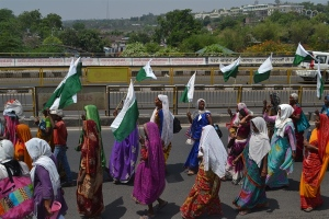 Farmers marching in Bhopal, India to protest on their land rights.