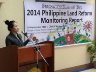Michele Esplana of ANGOC presenting the 2014 CSO Land Reform Monitoring Report.
