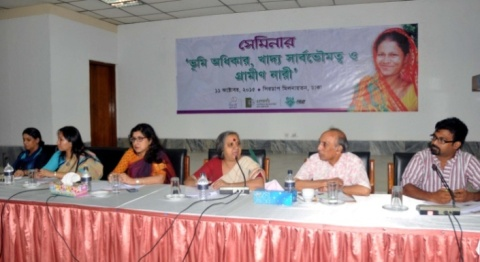 "Panel of the seminar on ""Land Rights, Food Sovereignty and Rural Women."" Photo by ALRD"