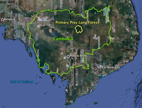 Location of Prey Lang Forest in Cambodia. Photo by intercontinentalcry.org