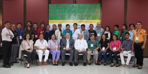 "Participants of the training of trainers on ""Increase the use of the VGGT among CSOs and Grassroots Organizations in the Philippines."" Photo credits to CMN."